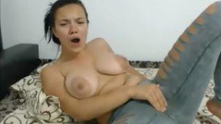 Big Tit Teen in jeans Fingering