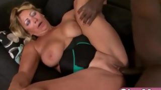 Blonde granny Sarah doggy style big black dong