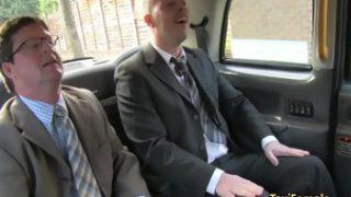 Female taxi driver fucks two guys