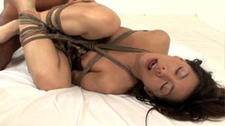 Man fucks his tied up and submissive sex girl