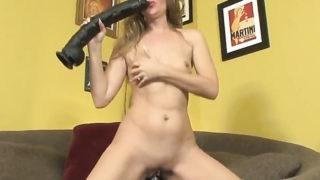 Nasty wench Sara James dildos her fuck hole