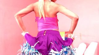 Sweet blonde shemale cheerleader Itiel dancing and showing assets upskirt
