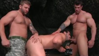 Big dick gay threesome with cumshot 3