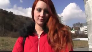 Pulled euro redhead banged outdoors during daytime POV