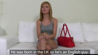 Casting euro amateur cumsprayed by fake agent