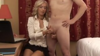 Dominant CFNM wife jerksoff cheating husband as punishment