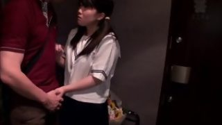 Petite asian schoolgirl gives thighjob to this lucky guy