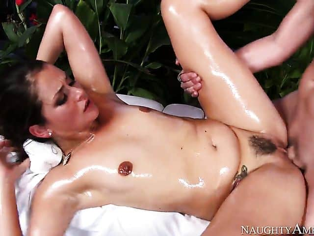 Allie Haze is covered in oil